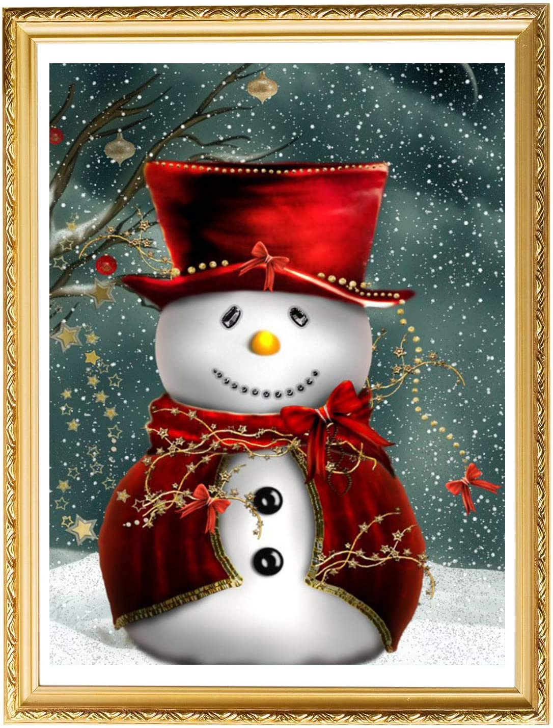 Q-DIRT PRO Christmas Snowman by Number 5D Diamond Painting Kit DIY Round Rhinestone Embroidery Painting for Home Wall Decoration Artwork 12 x 16