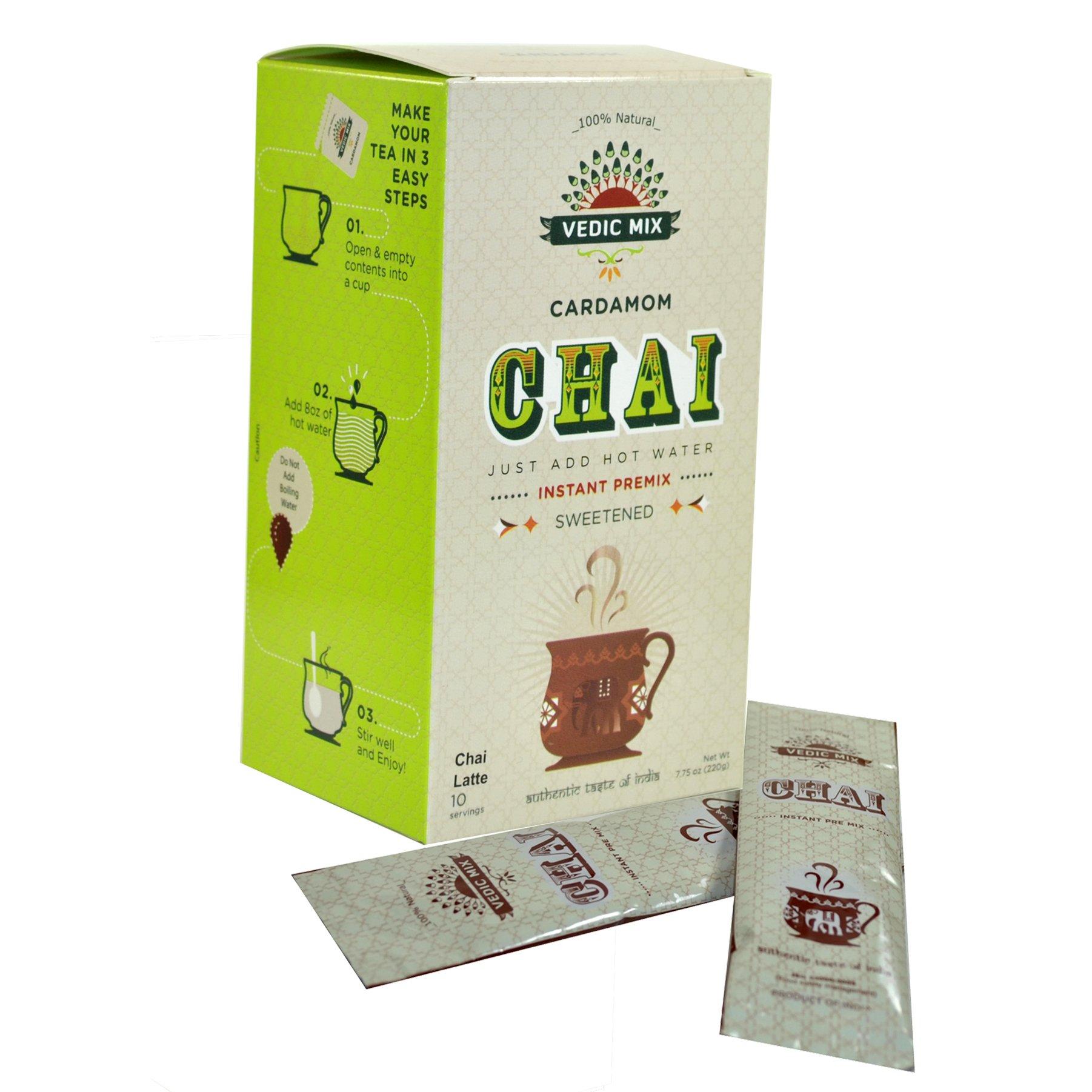 Vedic Mix Chai Tea Latte Mix Sweetened (Cardamom Chai, 6 Pack)