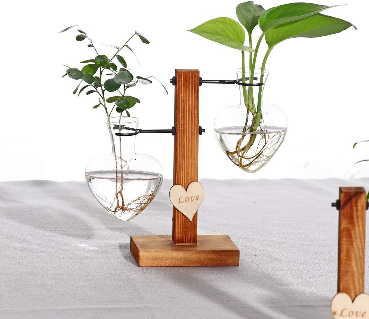 Kingbuy Hydroponic Glass Vase Vintage Desktop Plant Terrarium Planter Bulb Vase Water Planting Propagation Vase Libra planters Hydroponics Plants with Retro Wooden Stand Home Garden. (E(2 Bulb Vase))