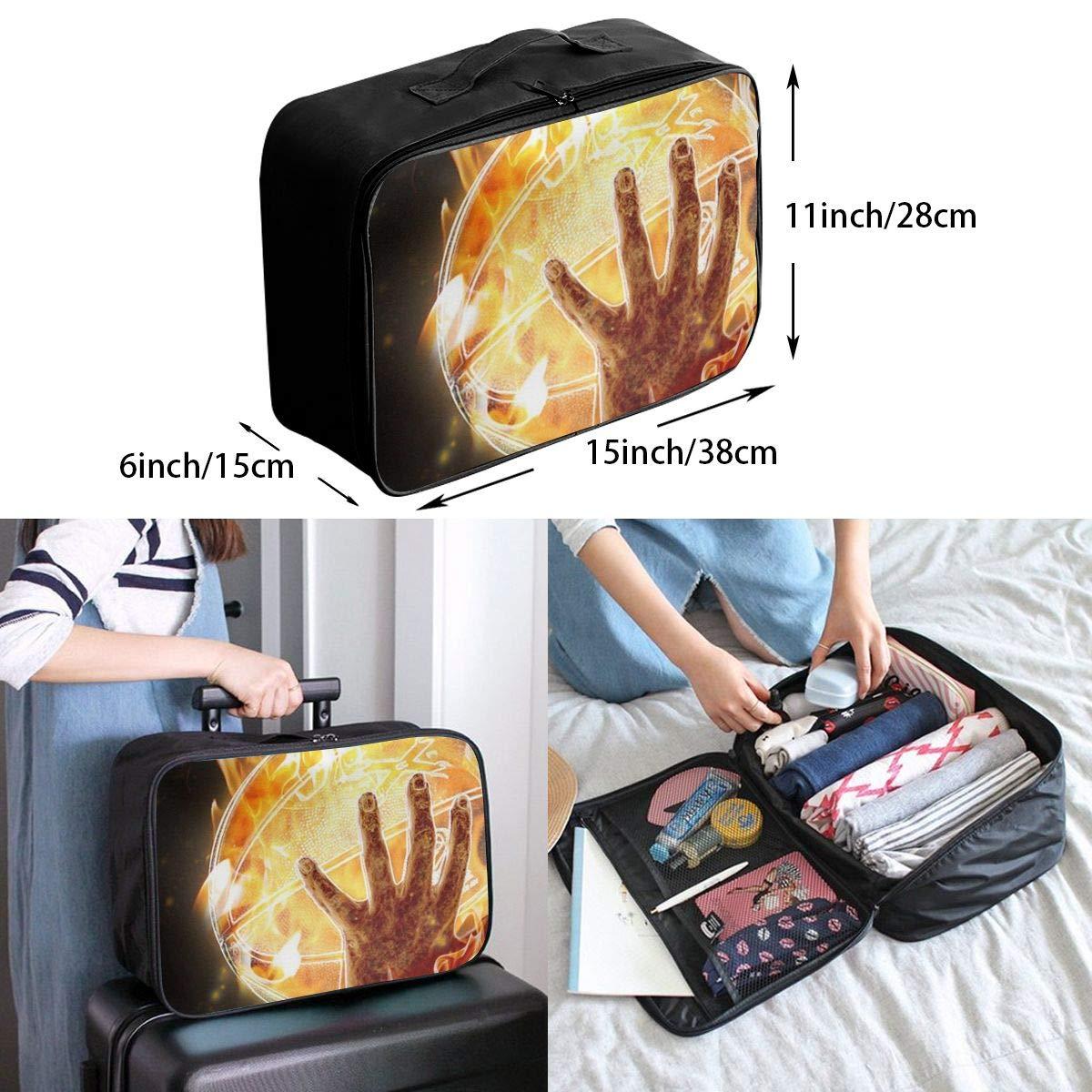 Travel Luggage Duffle Bag Lightweight Portable Handbag Fire Hands Balls Print Large Capacity Waterproof Foldable Storage Tote