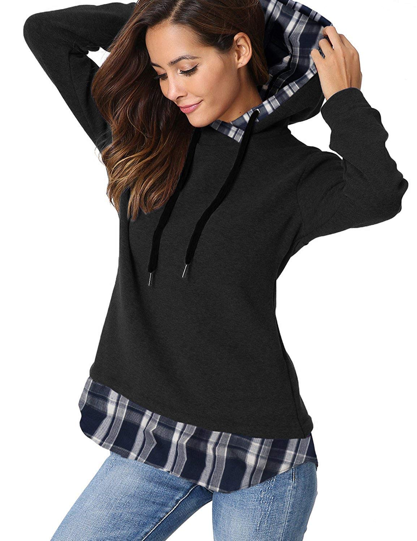 e12cca247c03 AitosuLa Sweats à Capuche Femme Sweatshirt Hoodies Chaud Sports à Carreaux  Pullover Pull Manche Longue Tops