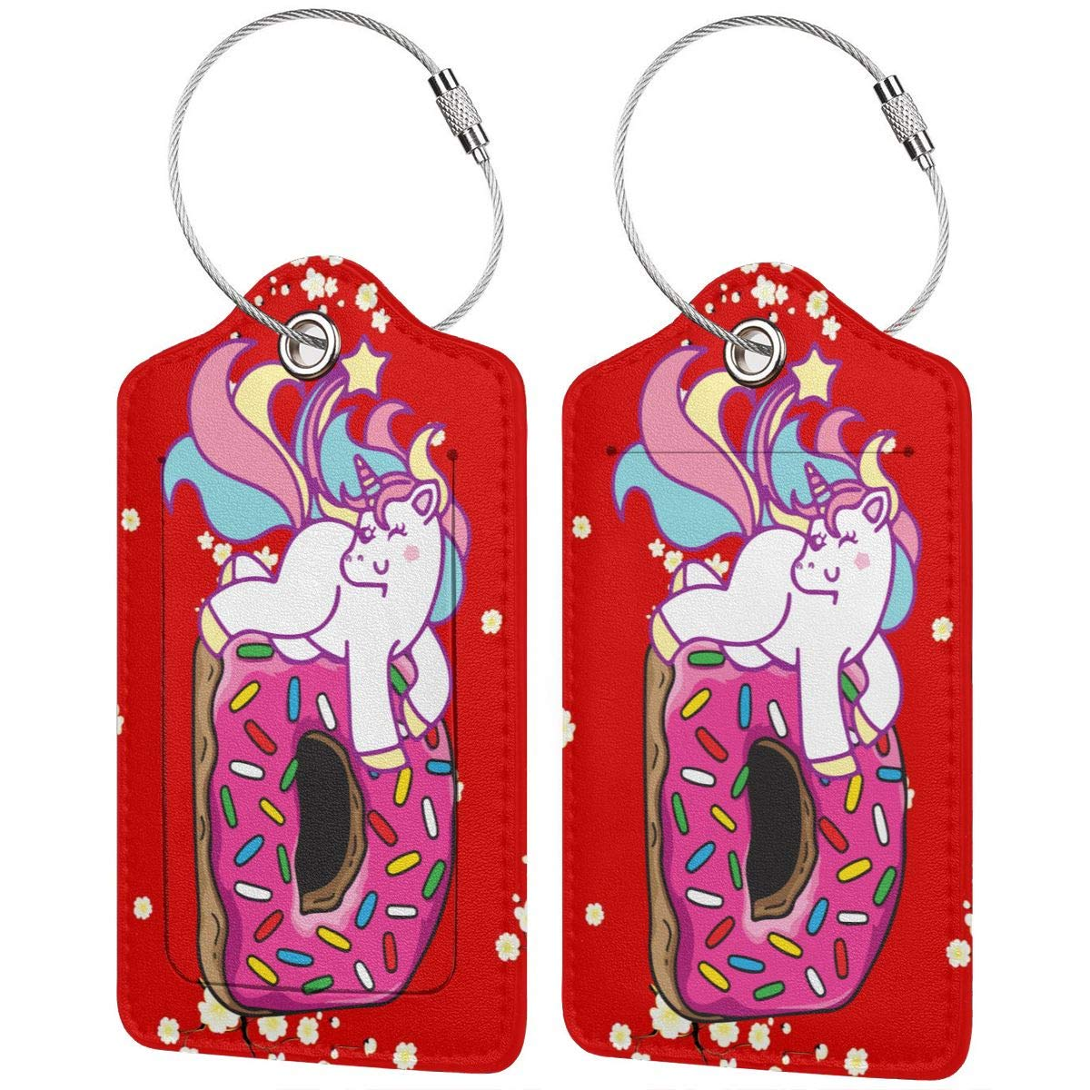 Unicorn Hug Donut Travel Luggage Tags With Full Privacy Cover Leather Case And Stainless Steel Loop