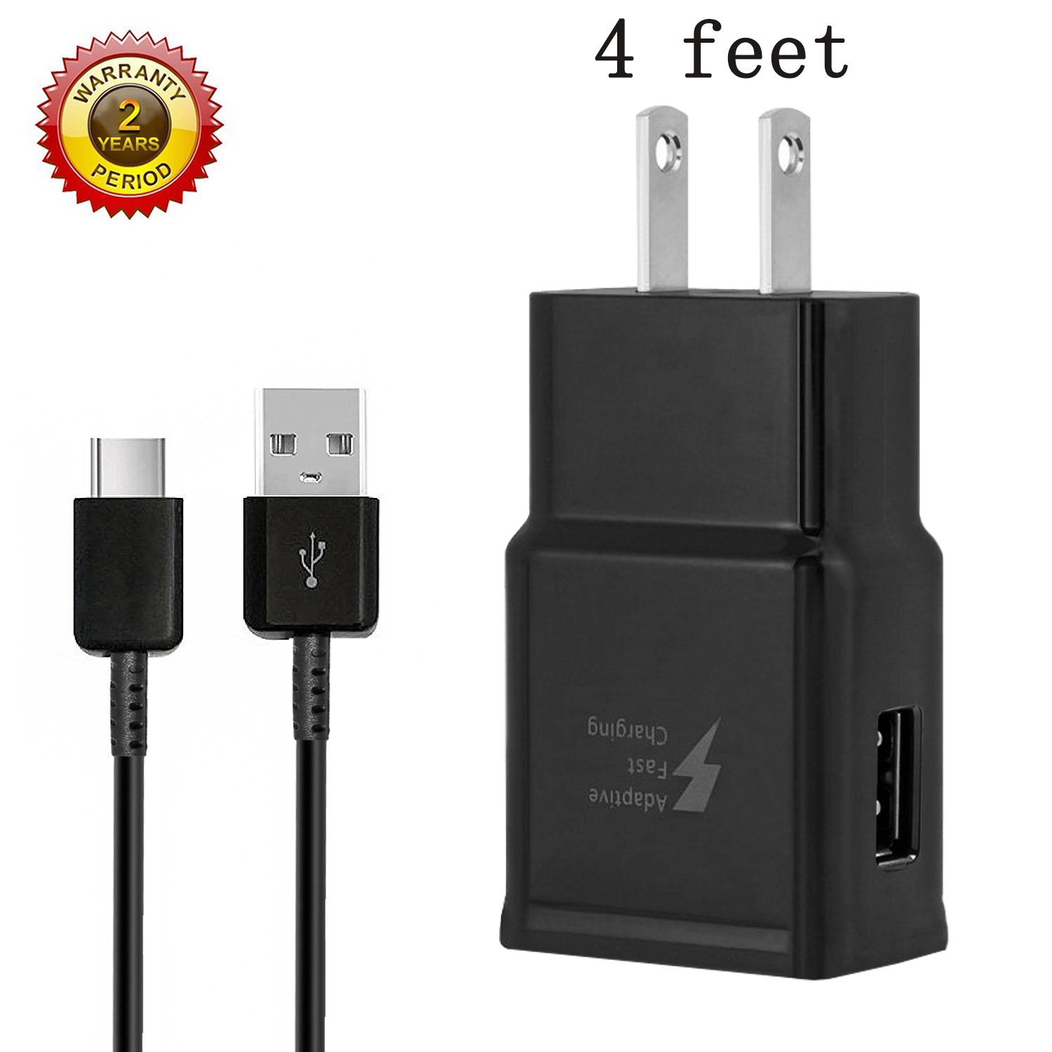 Fast Charge Adaptive Fast Charger Kit for Samsung Galaxy S9/S8/S8 Plus/Note8,MBLAI USB Type C Fast Charging Kit True Digital Adaptive Fast Charging (Black (Wall Charger+C Cable))