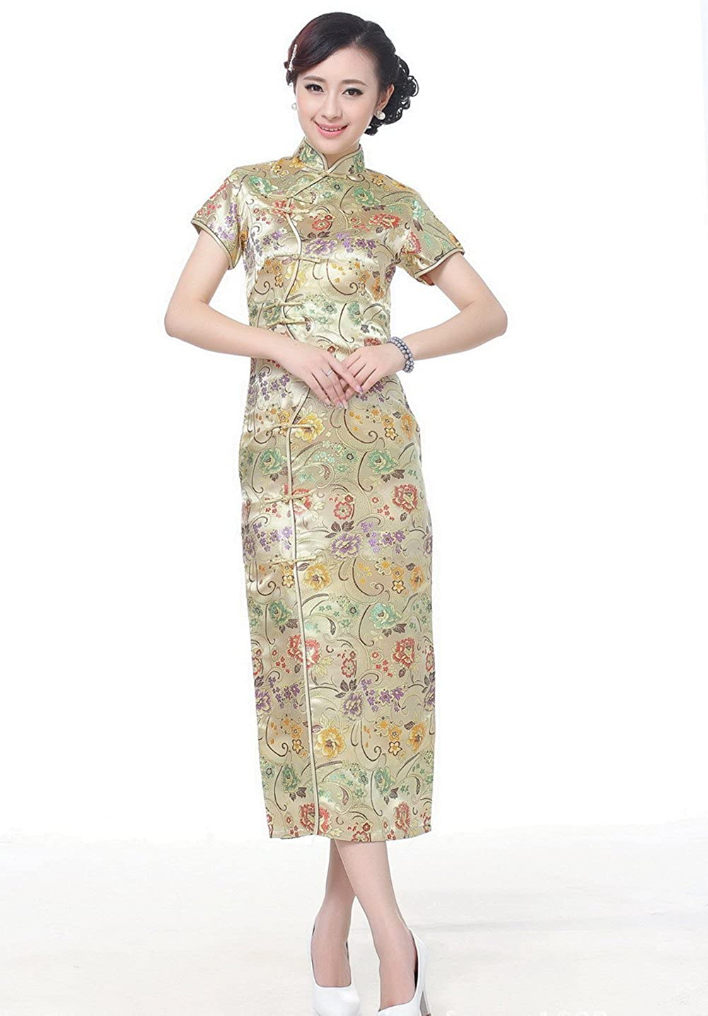 99df57d3c Amazon.com: AvaCostume Women's Chinese Silk Floral Qipao Button Long  Cocktail Dress: Clothing
