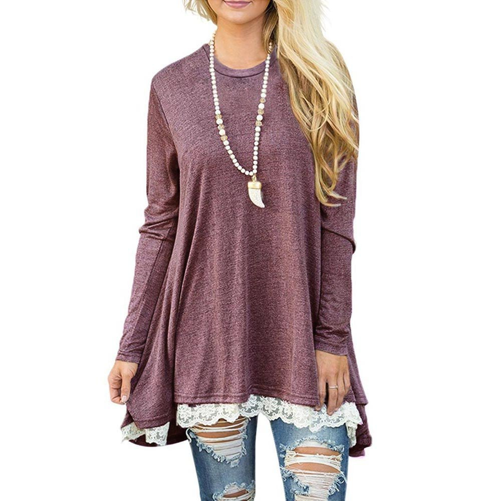 Missli Women's Tops Ladies Casual Lace Long Sleeve Scoop Neck A-Line Tunic Blouse Shirts