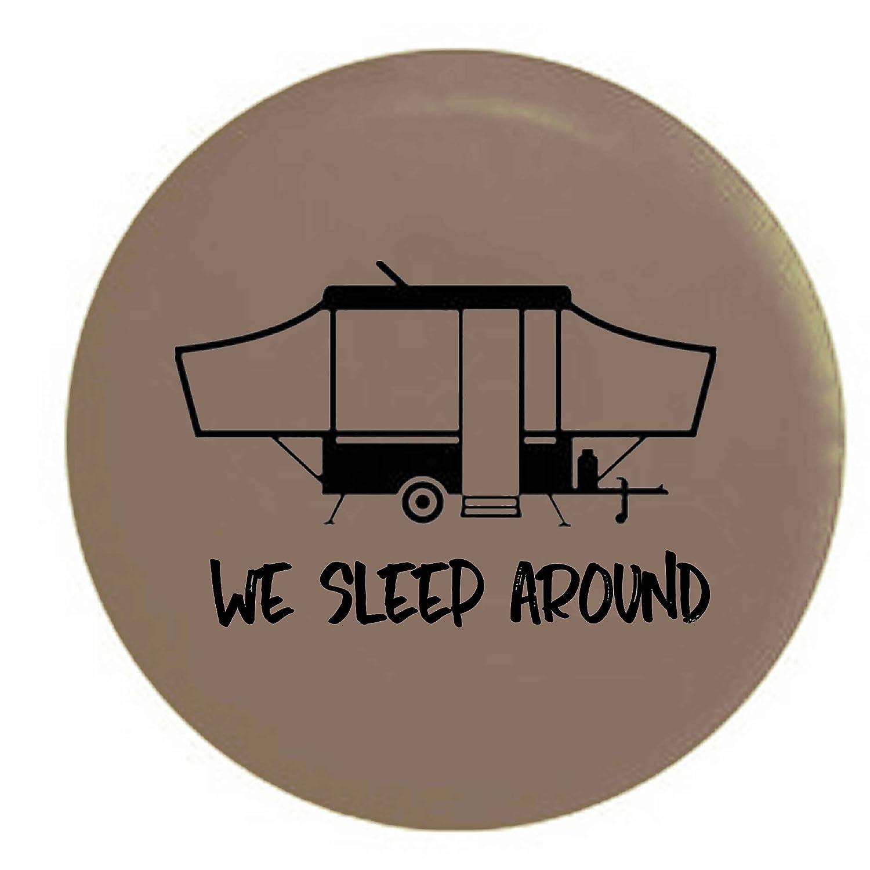 We Sleep Around PopUp RV Camper Spare Tire Cover OEM Vinyl Black 27.5 in Camo