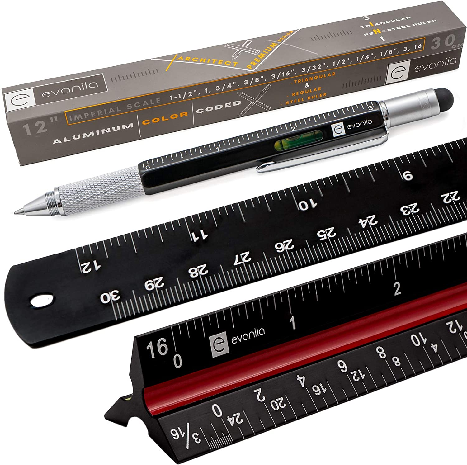 Scale Ruler Triangular Architectural Metal - Aluminum Architect Scale Ruler Multifunctional Pen with Cross-head Screwdriver Slotted Screwdriver Spirit Level Touch Screen Stylus for Drafting Blueprints