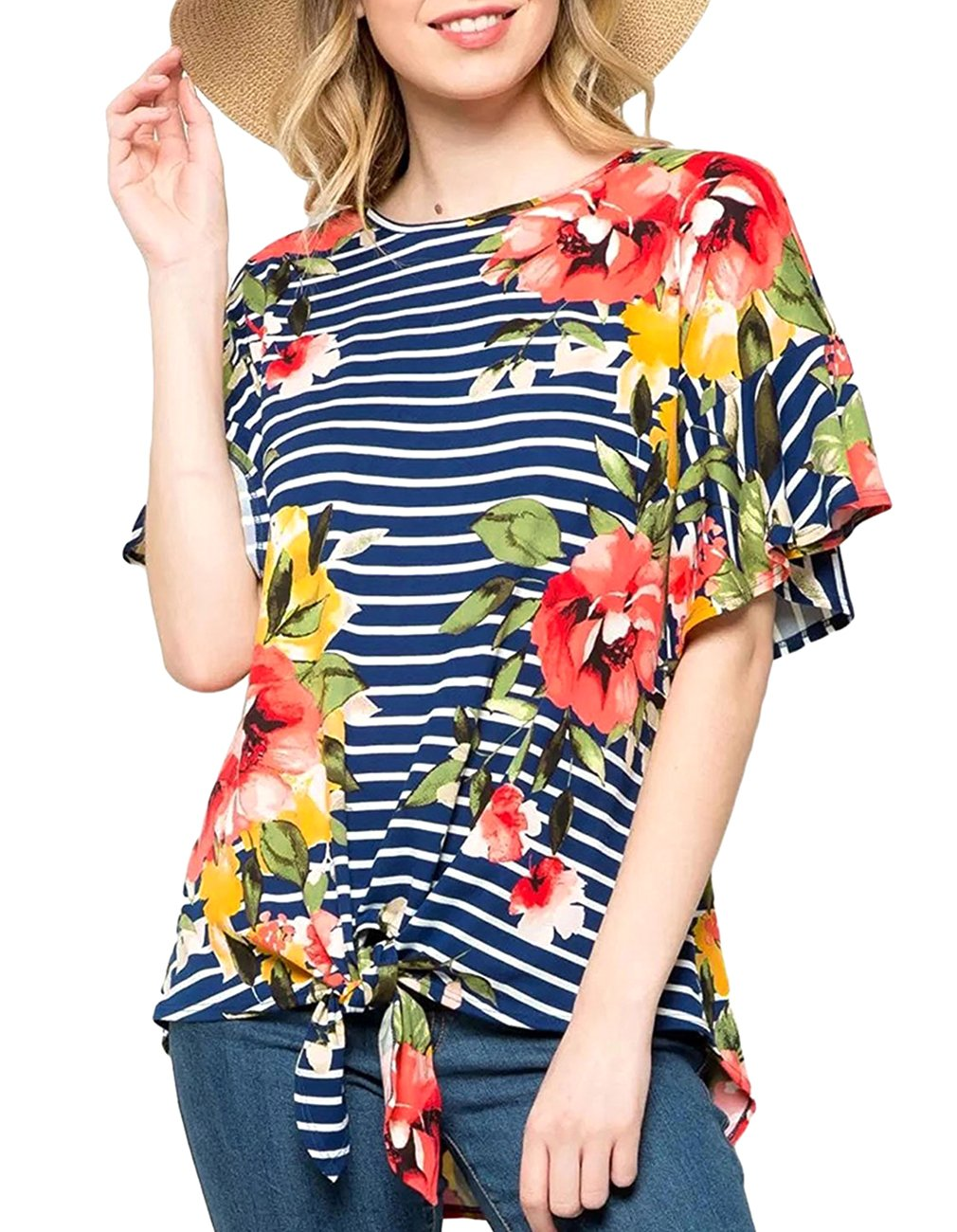 Defal Womens Summer Ruffled Short Sleeve Floral Stripe Tunic Top Knotted Hem Casual Blouse T-Shirt (Blue,XL)