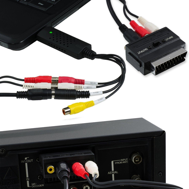 USB 2.0 Tech Stor3 -/Carte d/'acquisition num/érique audio vid/éo logiciel compatible avec Windows 10 adaptateur vid/éo pour num/ériser vos cassettes VHS