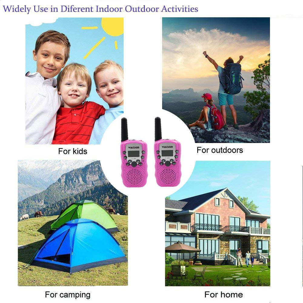 Waltsom Kids Walkie Talkies, 2 Pack Portable T388 3KM Long Rang UHF Radio 22 FRS and GMRS Walky Talky for Camping/Summer Camp/Spring Outing Indoor Outdoor Activities, Best Gift for Child (Pink)