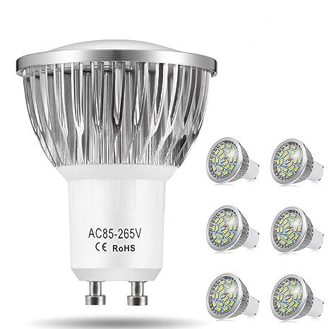 Bombillas LED GU10, 7W 18 x 5730 SMD Lámpara LED, Equivalente a 60Watt Lámpara Incandescente, Blanco Frío 6000K, 550lm, AC85-265V, 140 ° ángulo de ...