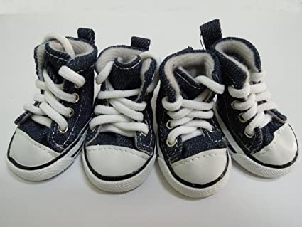 445501e3625bf9 PetFavorites Cute Puppy Pet Dog Sporty Shoes Lace up Blue Canvas Dog Boots  Nonslip Dog Booties