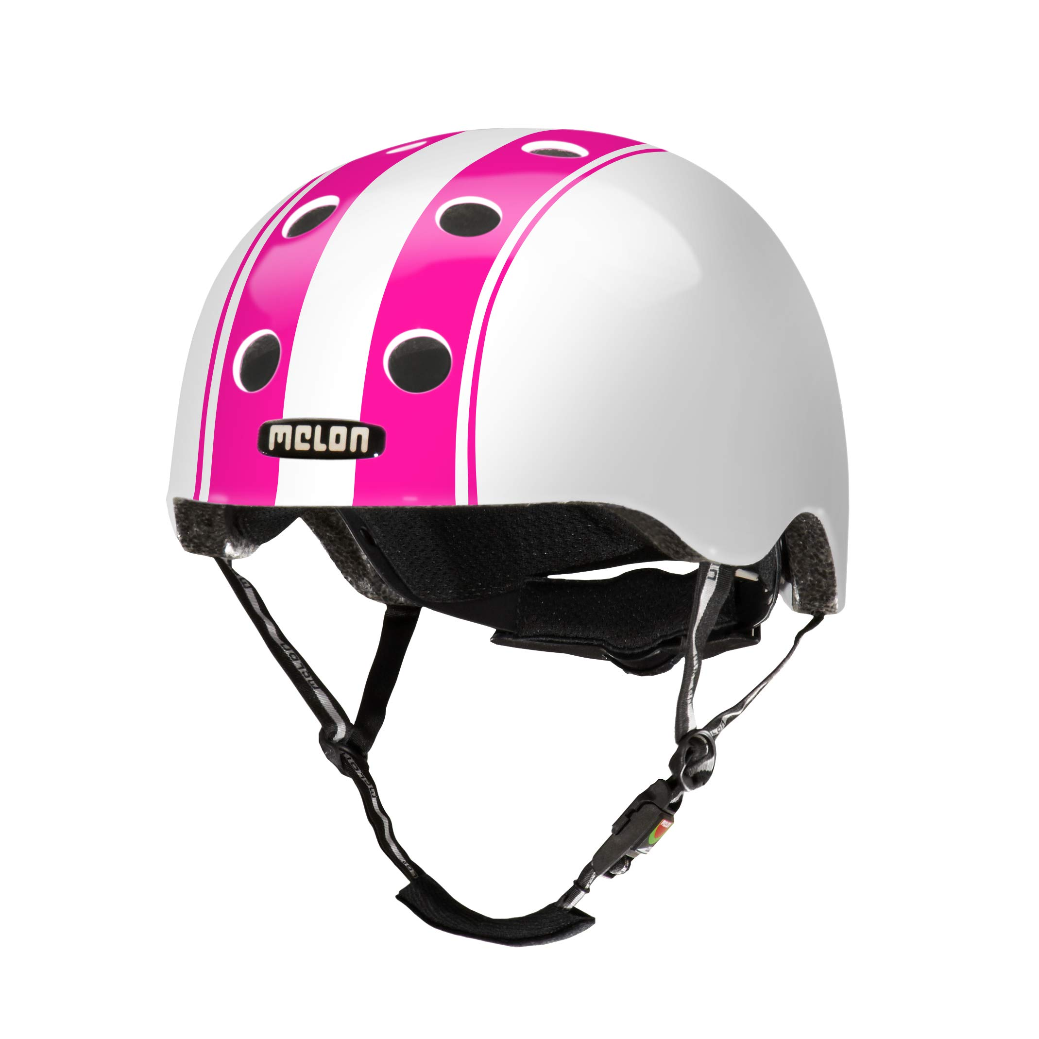 Melon Double Pink White Helmet, White/Pink, Glossy Finish, Large, 58 - 63cm / 22.75 - 25in Head Size