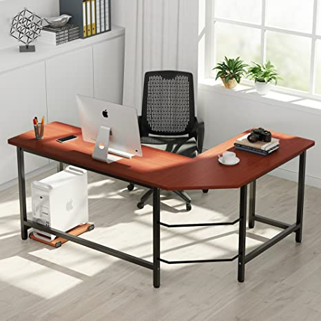 Excellent Tribesigns Modern L Shaped Desk Corner Computer Desk Pc Laptop Study Table Workstation Home Office Wood Metal Mahogany Brown Interior Design Ideas Jittwwsoteloinfo