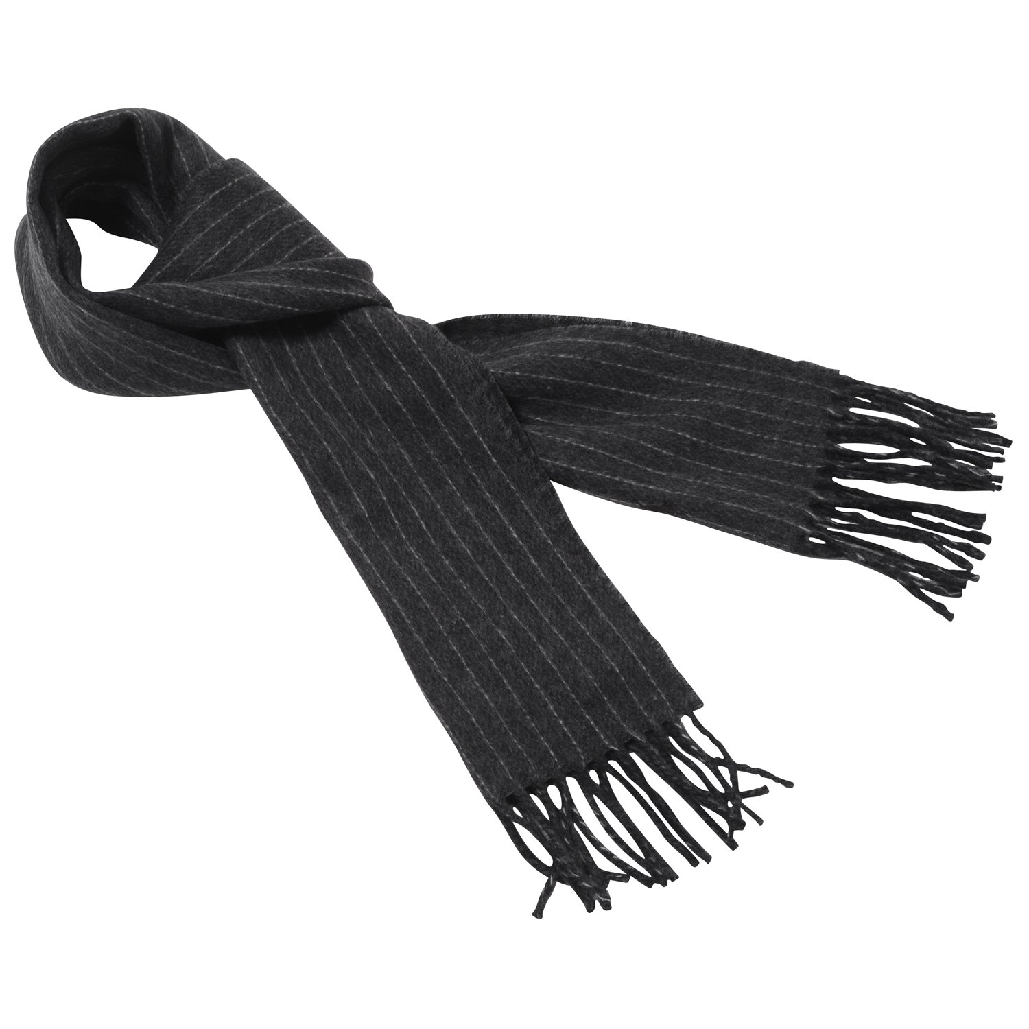 Polo by Ralph Lauren Mens 80/% Lambs Wool Winter Scarf Charcoal /& Grey Pinstripe