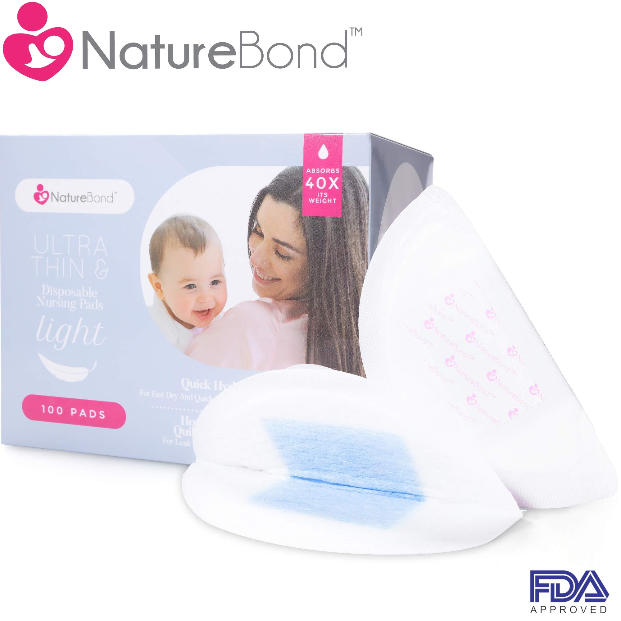 NatureBond Disposable Nursing Pads Ultra Thin 100 Pcs. Breastfeeding Pads, Light, Contoured and Highly Absorbent Breast Pads