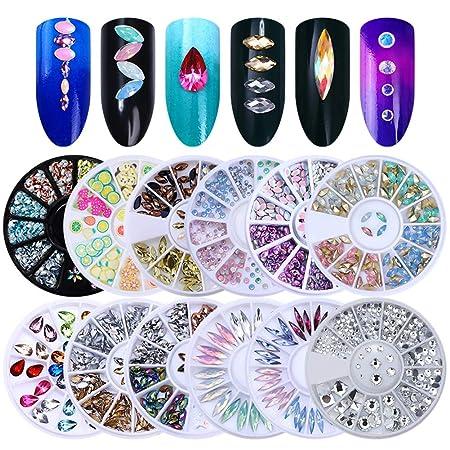 100 Strass Steine Motiv rund 1,0 mm Fingernägel Kosmetik 5 verschieden Farben