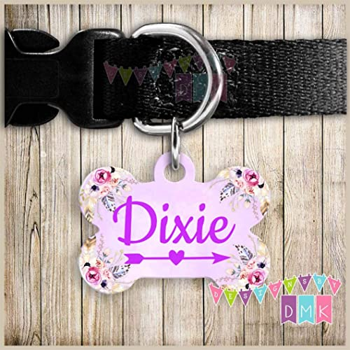 Amazon com: Purple Watercolor - Arrow - Floral - DOUBLE SIDED - Dog