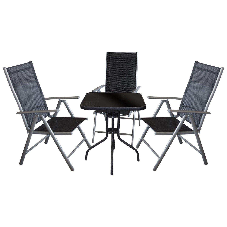 4tlg. Sitzgarnitur Sitzgruppe Bistrogarnitur Bistro-Set Balkonmöbel Terrassenmöbel - Bistrotisch, Tischglasplatte schwarz undurchsichtig, 60x60cm + 3x Hochlehner, klappbar, 7-fach verstellbar