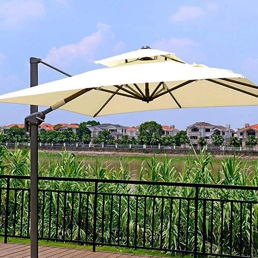 Xytton Paraguas de ocio al aire libre, paraguas de jardín, paraguas de balcón, horizontal, manivela y 12 nutridos, altura 3 m, para terraza, pesca, playa, piscina, rotación de 360 °, color blanco: Amazon.es: Hogar