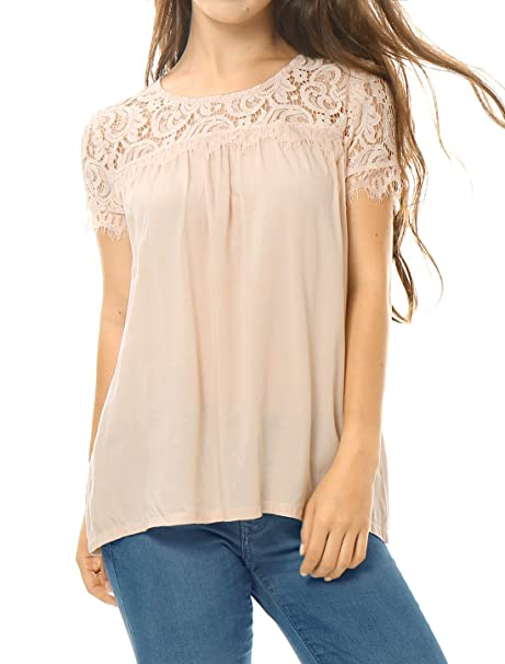 35a099cdf7 Allegra K Women's Loose Round Neck Semi Sheer Lace Panel Blouse