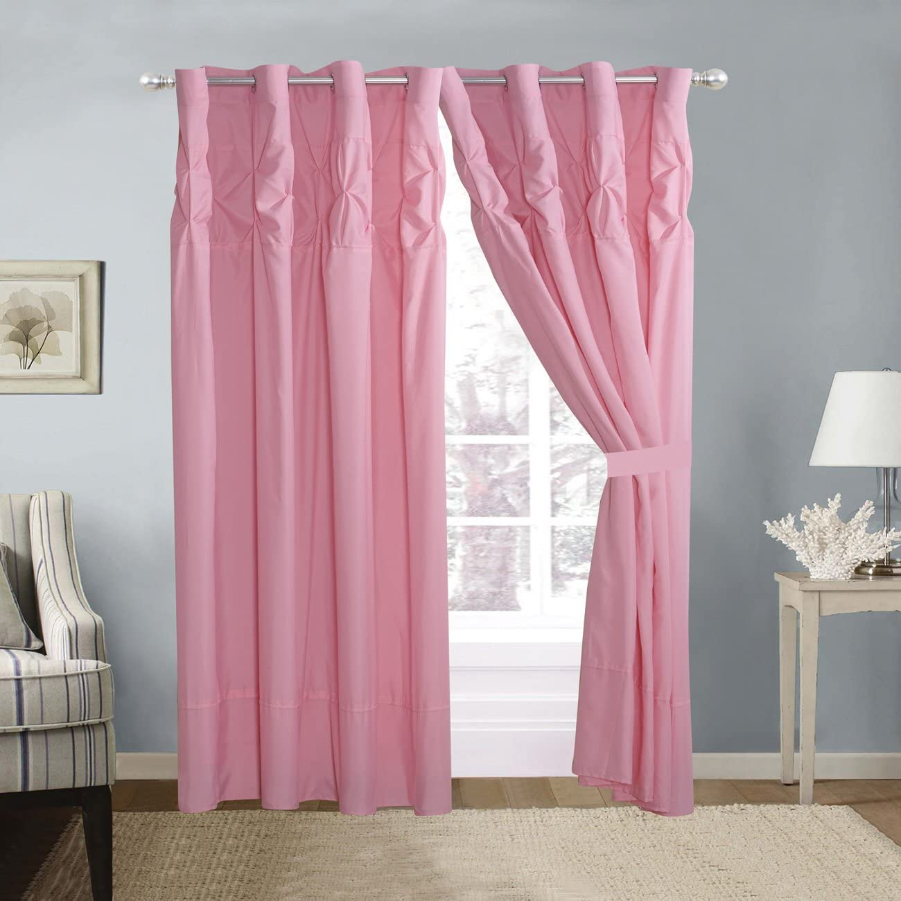 4 Piece Solid Pink Double-Needle Stitch Pinch Pleat Grommet Window Curtain Set 108 x 84-inch, 2 Panels and 2 Ties