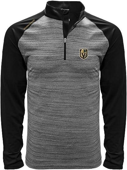 hot sale online 1d0c5 3c2f0 NHL Vegas Golden Knights Men's Vandal Wordmark Quarter Zip Mid-Layer,  Medium, Heather Grey/Black