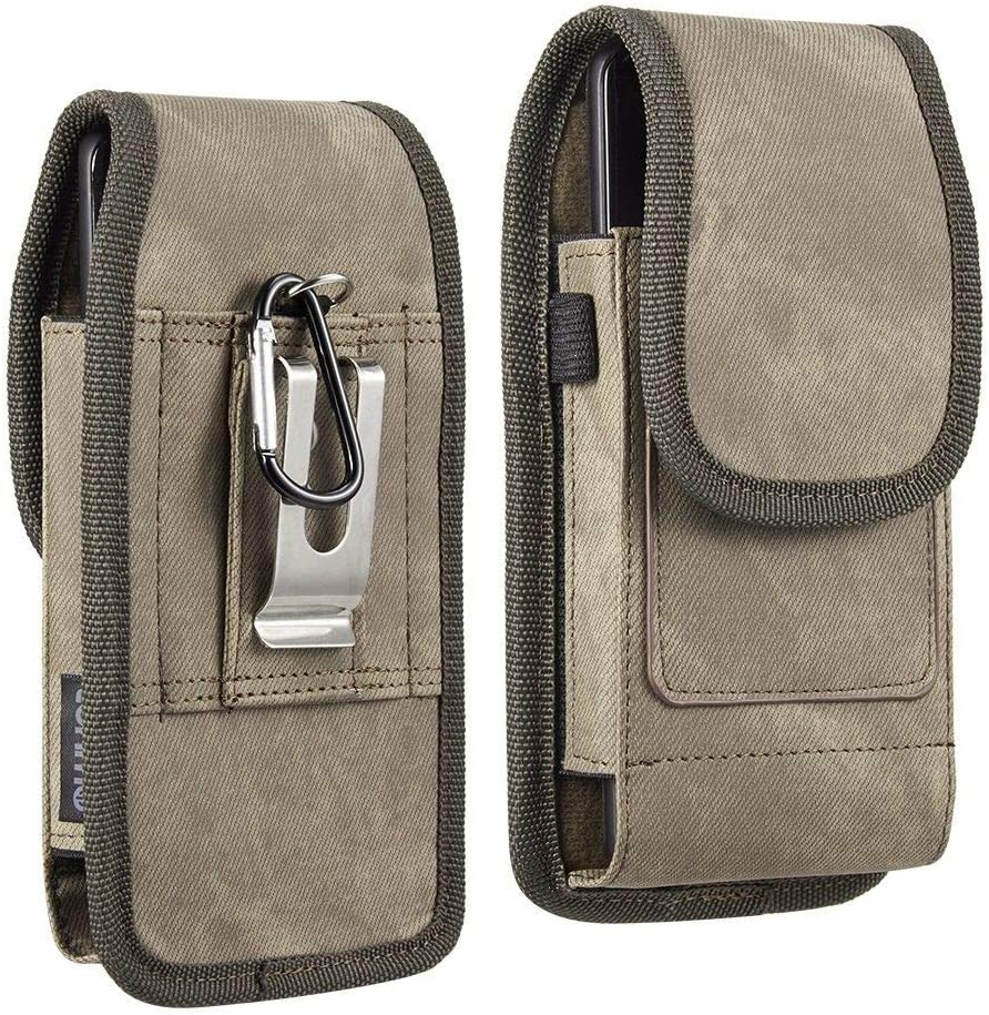 Luxmo Apple iPhone SE (2020) (4.7 inch) Belt Clip Holster - Vertical Rugged Nylon Carrying Pouch Phone Case (2 Card Slots/Pen Holder) and Atom Wipe - Brown