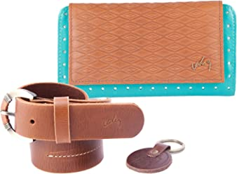 Velez Women Genuine Leather Wallet + Belt Kit | Set Billetera y Correa de Dama