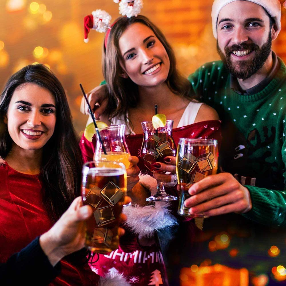 NUONA Cubos de Hielo para Whisky, 8pzs Cubitos de Hielo Reutilizables, Cubos Enfriadores Whisky Piedras Alternativa Hielo Accesorios para ...