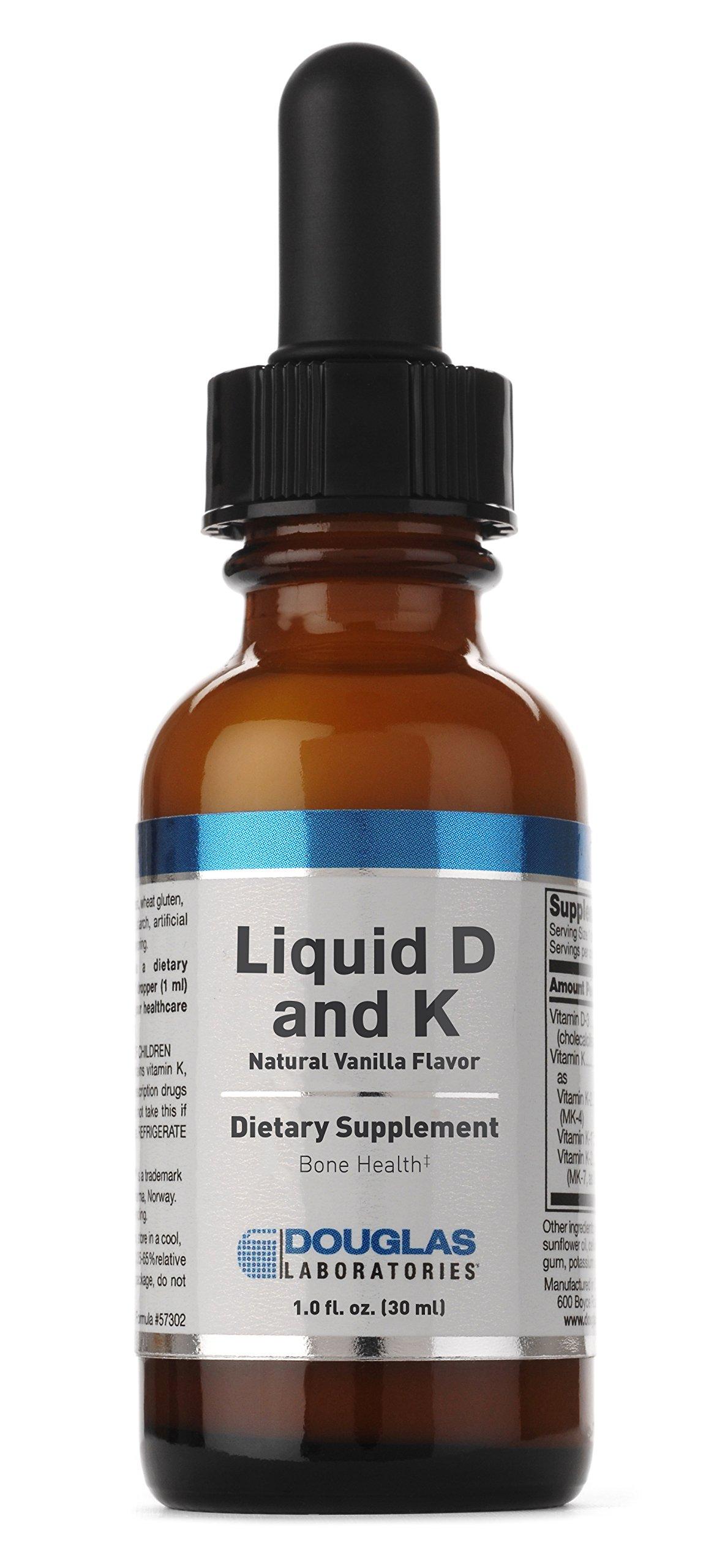 Douglas Laboratories - Liquid D & K - Vitamins K-1, K-2 and Vitamin D3 to Support Optimal Bone Health* - Natural Vanilla Flavor - 1 fl. oz.