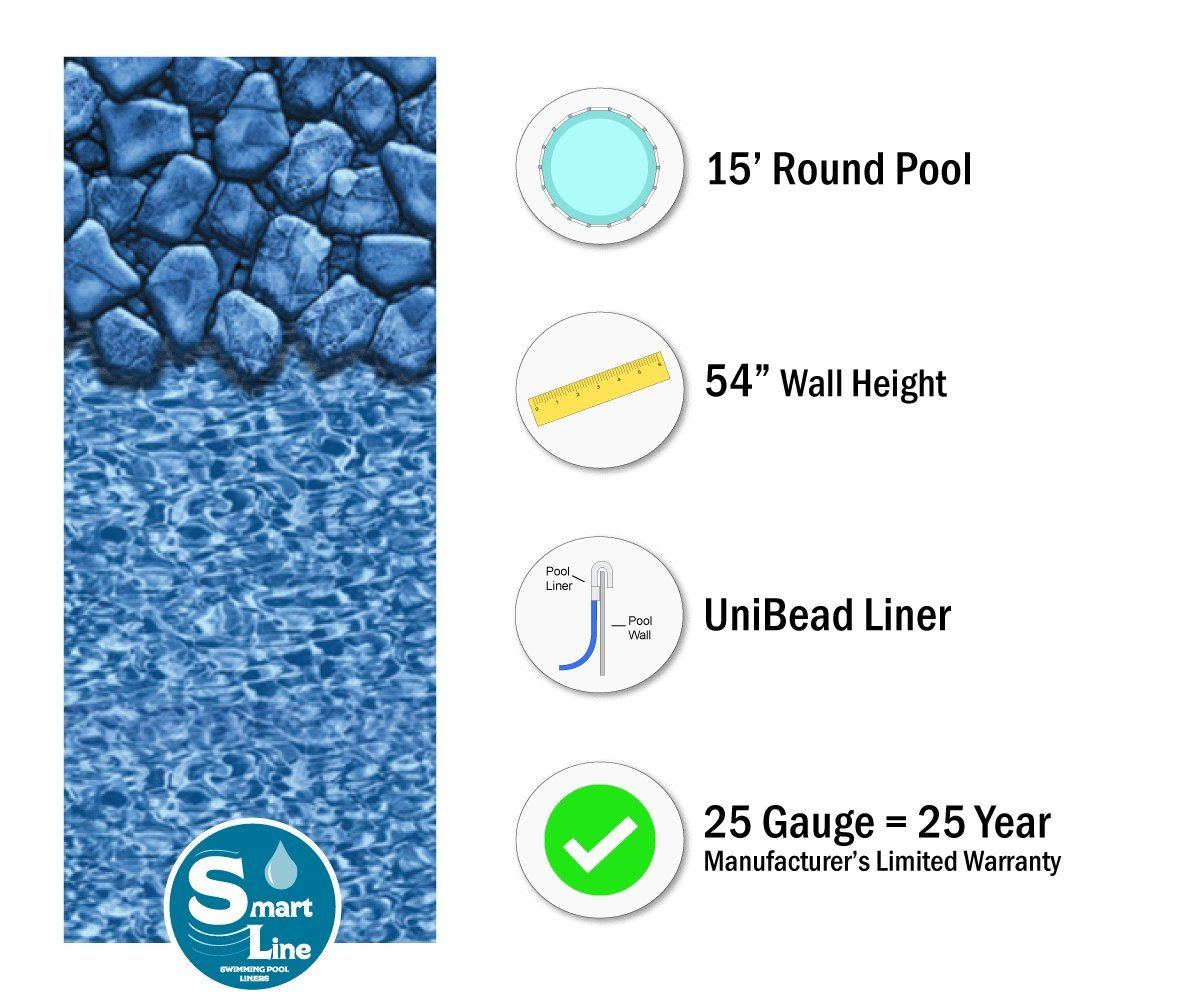 Smartline Aspen Creek 18-Foot Round Liner UniBead Style Designed for Steel Sided Above-Ground Swimming Pools 54-Inch Wall Height 25 Gauge Virgin Vinyl
