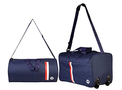 3G Polyester Blue Combo of Trolley and Drum Bag