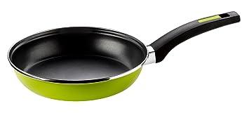 Monix Lima - Sartén 28 cm de acero esmaltado verde con antiadherente Teflon® Classic.