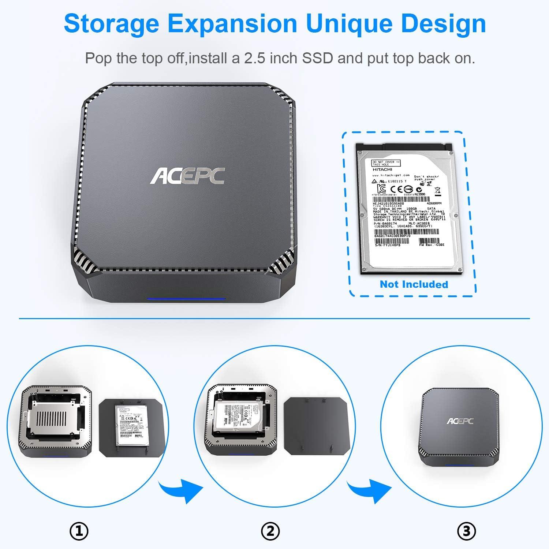 Mini PC,Intel Celeron J3455 Windows 10 Pro Mini Computer, 6GB DDR3 120GB SSD HD Graphics 4K Dual Output Gigabit Ethernet Dual Band Wi-Fi Bluetooth 4.2
