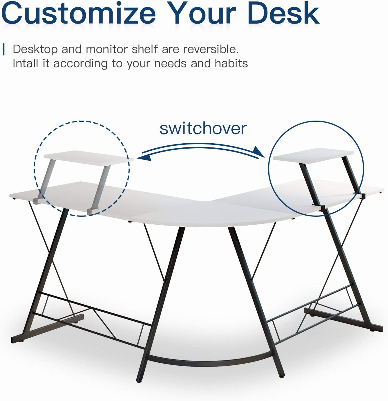 L Shaped Desk Home Office Desk with Round Corner Computer Desk with Large Monitor Stand Desk Workstation,White: Kitchen & Dining