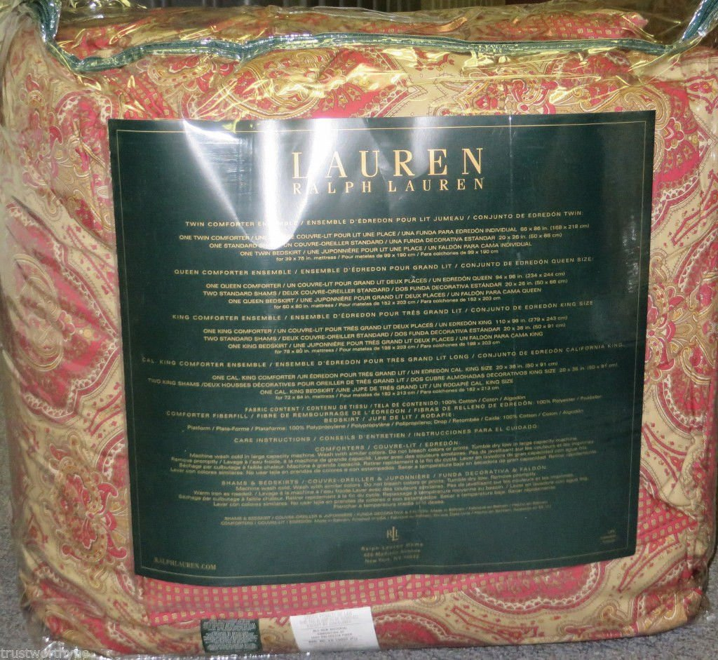 Amazon.com: $400 Ralph Lauren Nottingham Red and Gold Paisley 4-piece Full Queen Comforter Set: Home & Kitchen