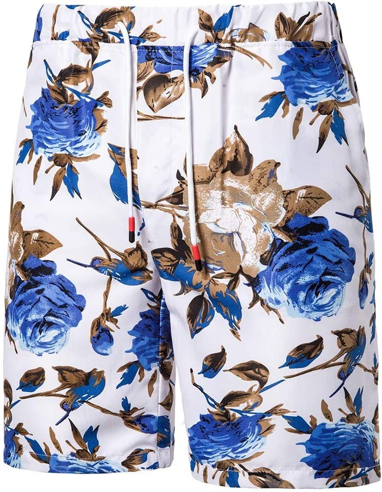 Mens Floral Casual Shorts Cargo Outfit