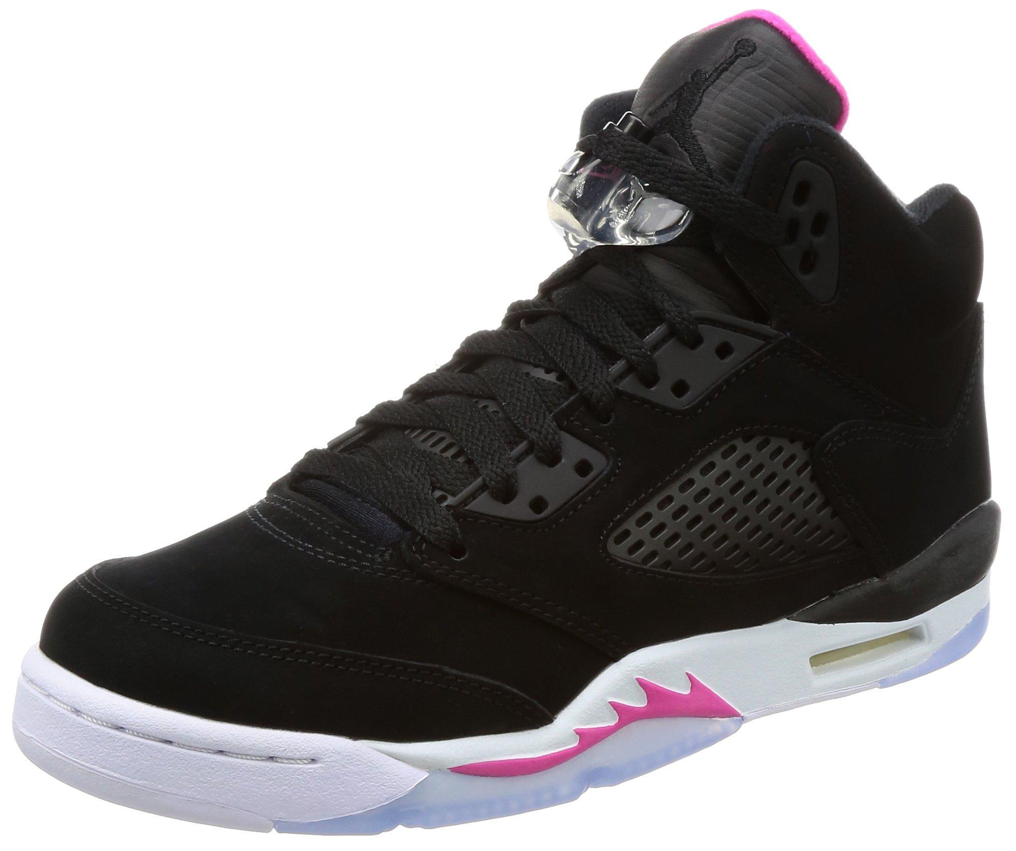 Jordan Nike Kids Air 5 Retro GG Black/Black Deadly Pink White Basketball Shoe 7 Kids US