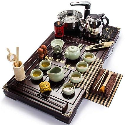 SYDZ Juego de té Chino Bandeja de Madera Maciza Kungfu Cocina de inducción al por Mayor