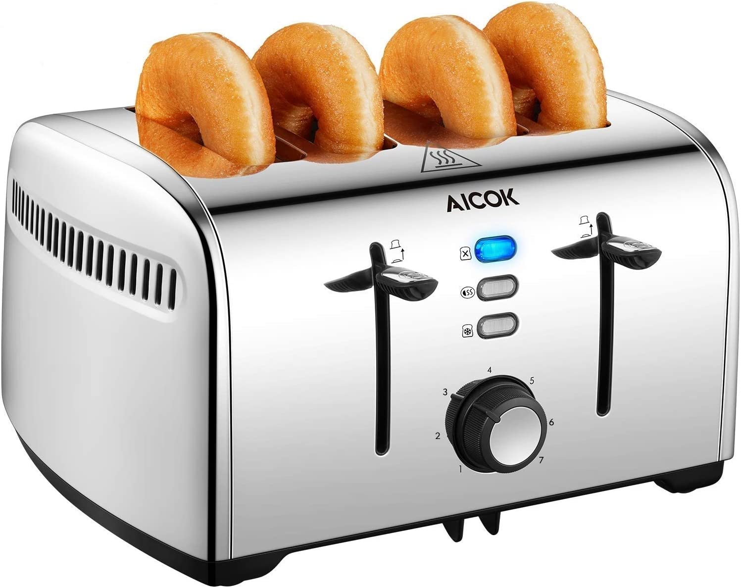 AICOK 4-Slice Toaster, 1.6inch Extra-Wide Slot Dual Independent Control Toaster with Bagel, Defrost, Cancel Function, 7-Shade Setting&2-Minutes Quick Heating, 18/10 Stainless Steel