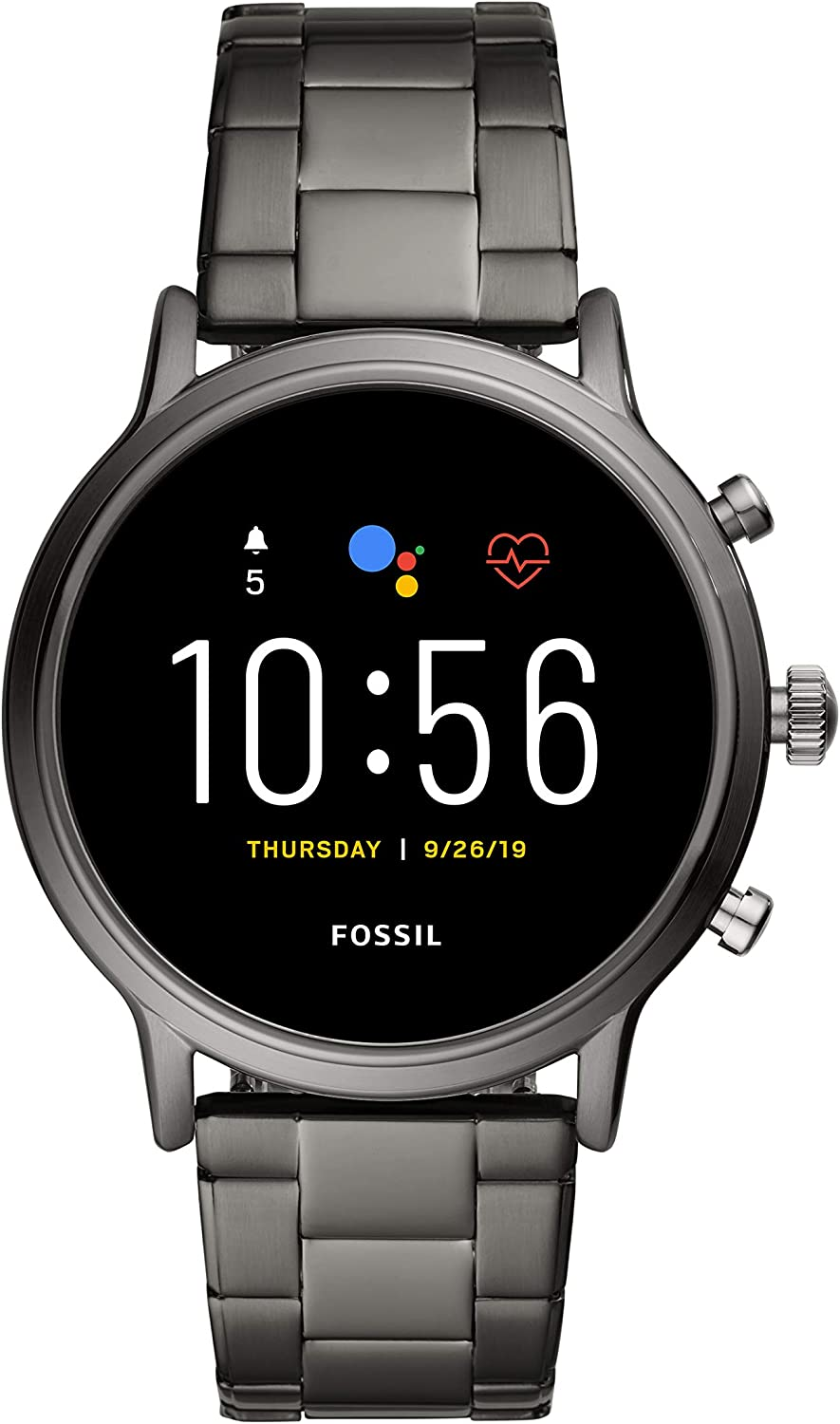 Fossil Gen 5 Carlyle Stainless Steel Touchscreen Smartwatch with Speaker, Heart Rate, GPS, NFC, and Smartphone Notifications