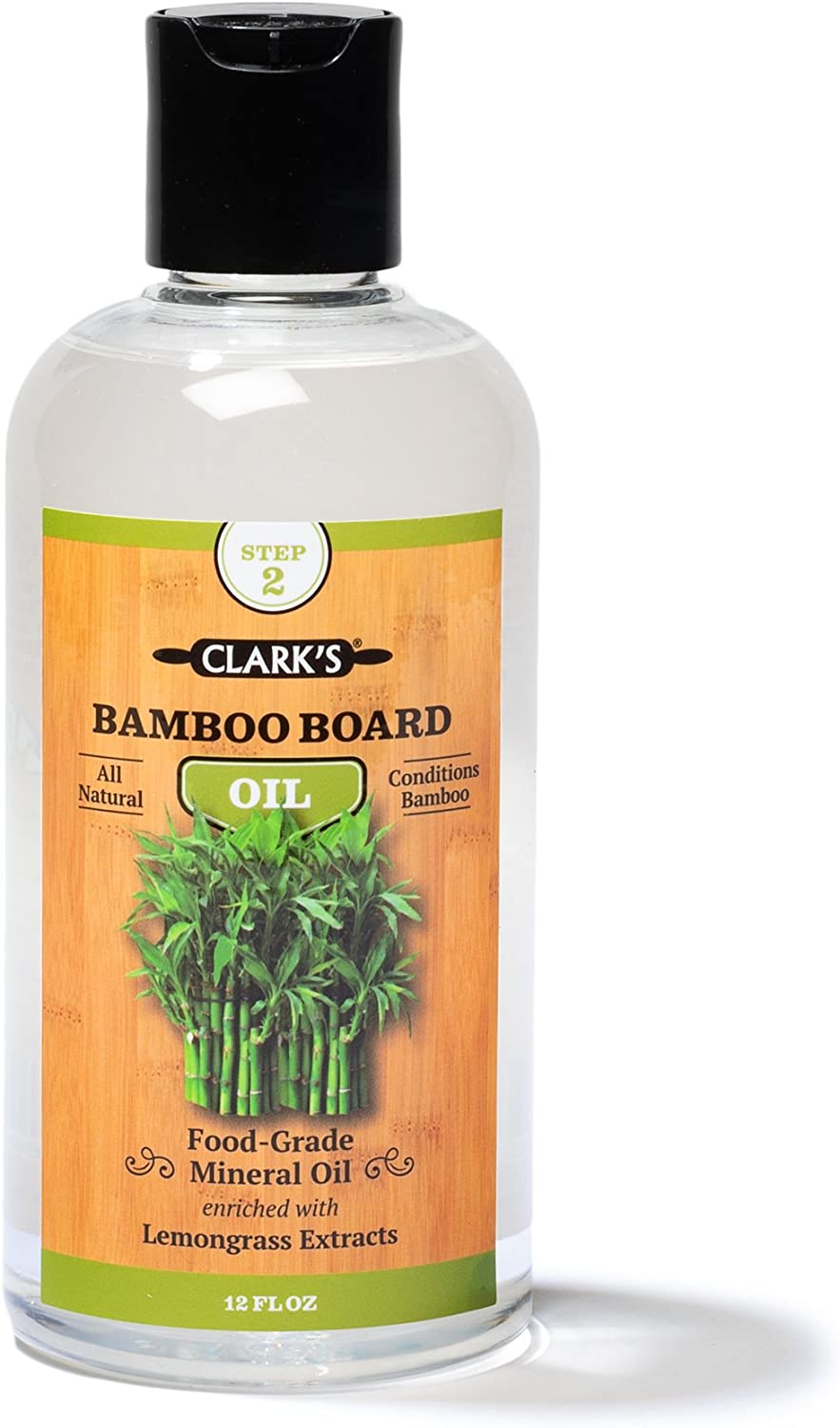 Bamboo Board Oil (12oz) by CLARK'S | Enriched with Lemongrass Extract | Specially Formulated for Bamboo Cutting Boards and all things Bamboo