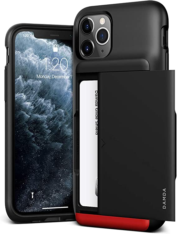 VRS DESIGN Damda Glide Shield Compatible for iPhone 11 Pro Case, with [2 Cards] Premium [Semi Auto] Card Wallet for iPhone 11 Pro 5.8 inch(2019) Matte Black