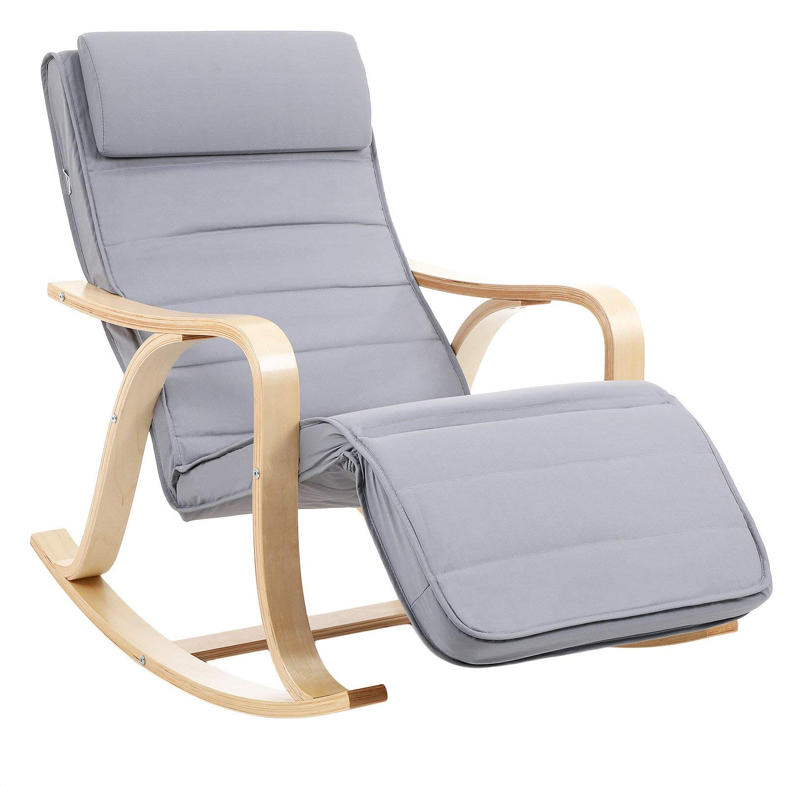 SONGMICS LYY41G Rocking Relaxing Chair with 5 Compartments Adjustable Calf Support Load 150 kg Grey, Wood, lightgrey, 67 x 125 x 91 cm