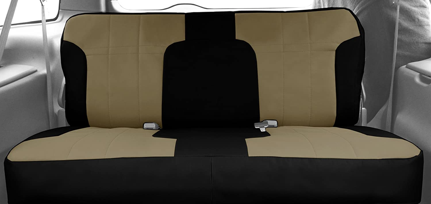 CalTrend Rear Row 40//60 Split Bench Custom Fit Seat Cover for Select RAM 2500//3500 Models DuraPlus Light Grey Insert and Black Trim