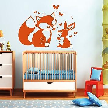 """WAS-12064 Kinderzimmer Wandtattoo /""""Singender Fuchs/'/' Deko Tiere"""