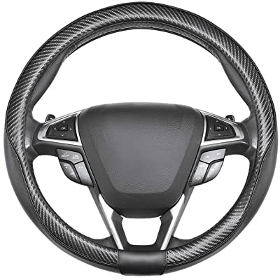 SEG Direct Car Steering Wheel Cover Universal Standard-Size 14 1/2\'\'-15\'\' Leather with Carbon Fiber Pattern Black: Automotive [5Bkhe0910444]