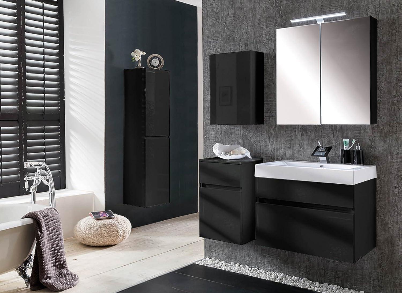 SAM® Design Badmöbel Set Parma 5tlg, Hochglanz Schwarz, 70 Cm Breite,  Softclose Funktion, Badezimmer Set Aus 1 X Spiegelschrank, 1 X Waschplatz,  ...