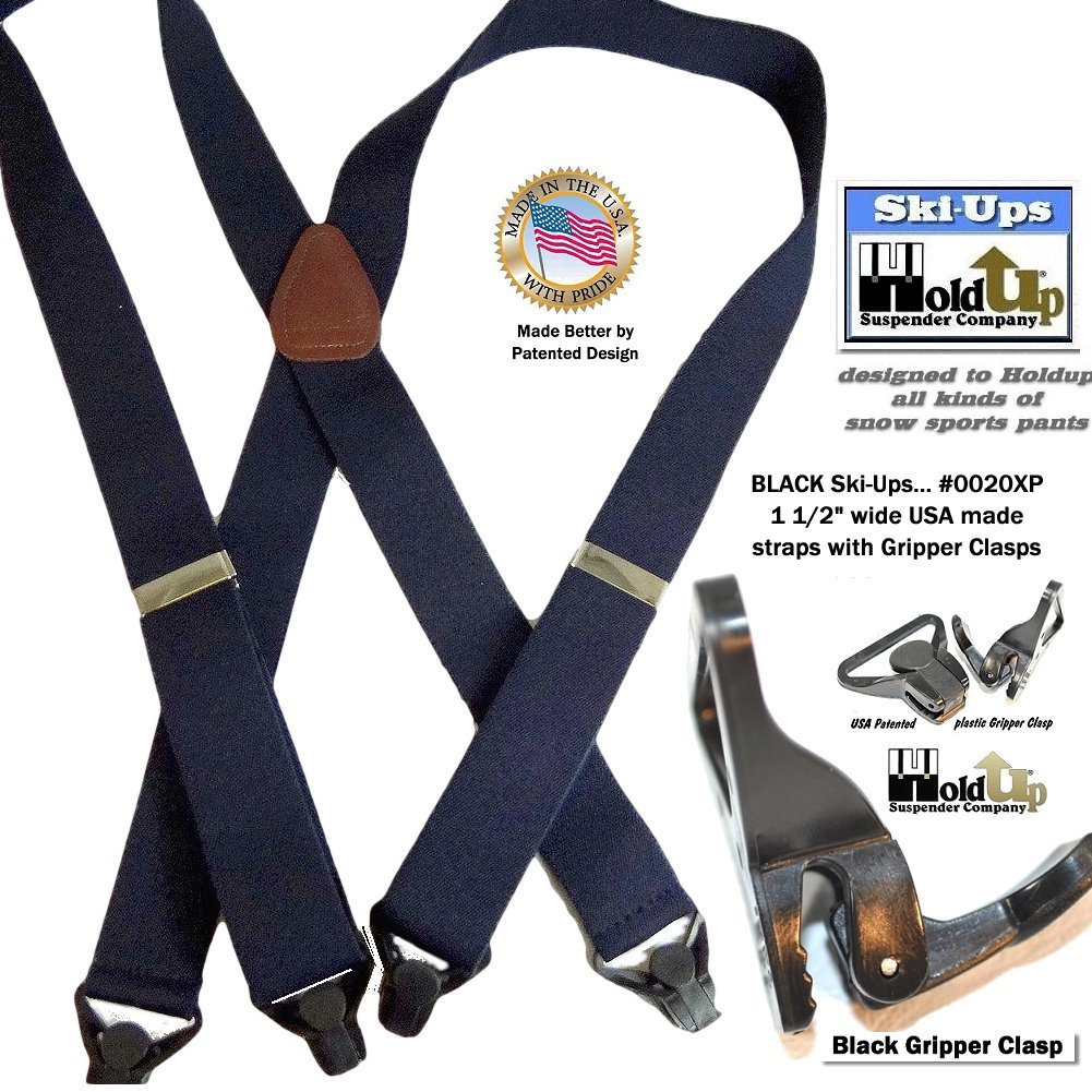 HoldUp All Black Snow Ski-Ups Suspenders in 1 1/2'' width with Patented black Gripper Clasps in X-back style by Hold-Up Suspender Co. (Image #3)